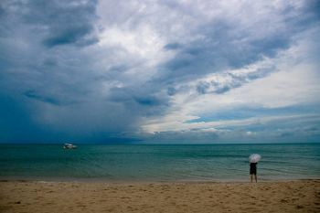 Rain on the beach
